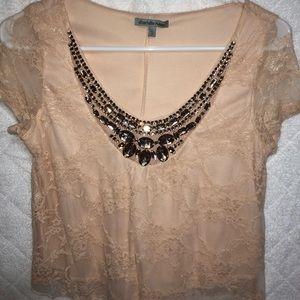 Blush Lace Crop Blouse